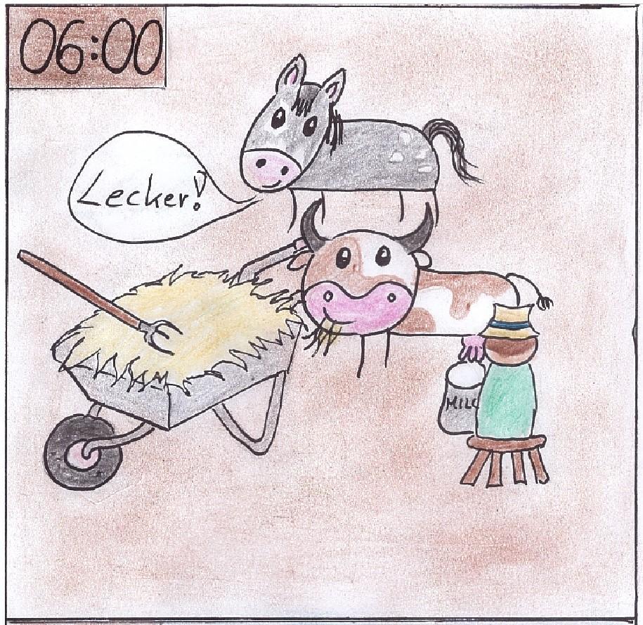 Tiere werden gefüttert am Bauernhof