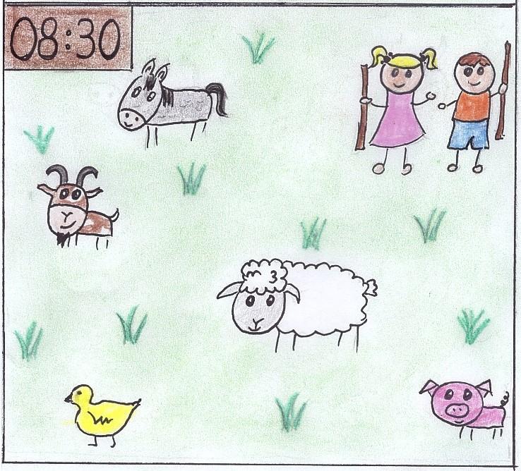 Kinder bringen Tiere auf die Weide am Rücklhof